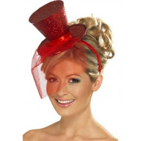 Röd glitter mini top hat