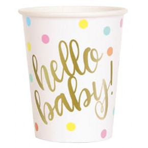 "Babyshower Kopper 266ml, ""Hello Baby!"" 8 stk."