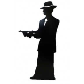 1920's Gangster Boss - Sort Silhuet Cutout Figur