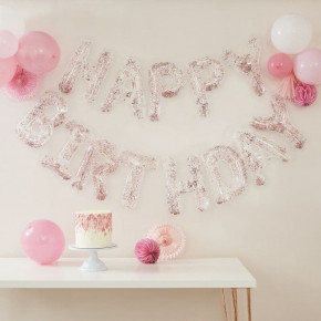 "Rosegold Konfetti Ballon Guirlande ""Happy Birthday"""