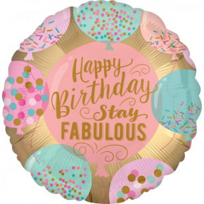 Fabulous Fødselsdags Satin Ballon i Folie - Happy Birthday