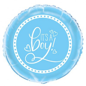 "Lyseblå Folieballon - Babyshower ""It's a Boy"" 45cm"