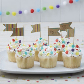 Cupcake Toppers - Mad Kageflag, 10 stk.