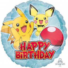 "Rund ""Happy Birthday"" Pokémon Folie Ballon"